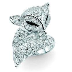 PalmBeach Silvertone Clear Cubic Zirconia Fox Ring Glam CZ
