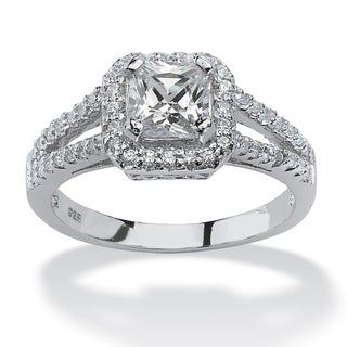 Ultimate CZ Platinum over Sterling Silver Clear Cubic Zirconia Ring