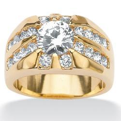PalmBeach CZ Goldtone Clear Cubic Zirconia Men's Ring