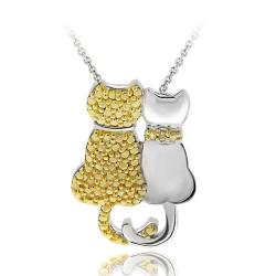 DB Designs 18k Gold over Silver Yellow Diamond Double Cat Necklace