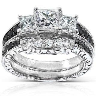 Annello 14k White Gold 1 3/5ct TDW Black and White Diamond Bridal Ring Set (H-I, I1-I2)