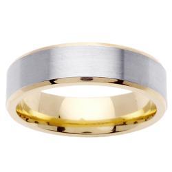 14k Two-tone Gold Men's Brushed Wedding Band