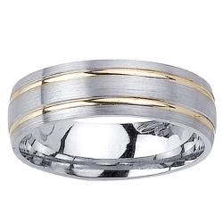 14k Two-tone Gold Men's Double Groove Wedding Band