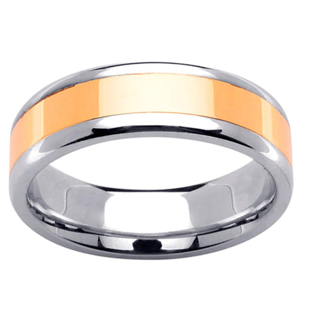 14k Two-tone Gold Men's Polished Wedding Band