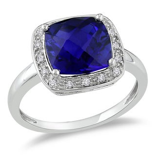 1/10 CT Diamond TW And 3 1/4 CT TGW Created Blue Sapphire Fashion Ring 10k White Gold GH I2;I3