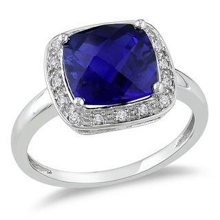 Miadora 10k White Gold 1/10ct TDW Diamond and Created Sapphire Ring (G-H, I2)