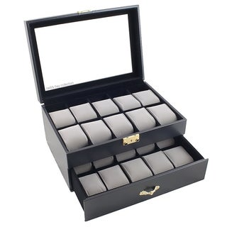 Black Leatherette 20 Watch Case