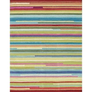 Hand-hooked Peony Multi Stripe Rug (7'6 x 9'6)
