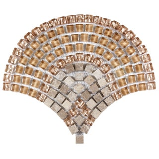 SomerTile 11.25x9.5-inch Reflections Arch Toffee Glass and Stone Mosaic Tiles (Pack of 10)