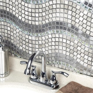 SomerTile 12.25x11.75-inch Reflections Wave Mercury Glass, Stone and Metal Mosaic Tile (Pack of 10)