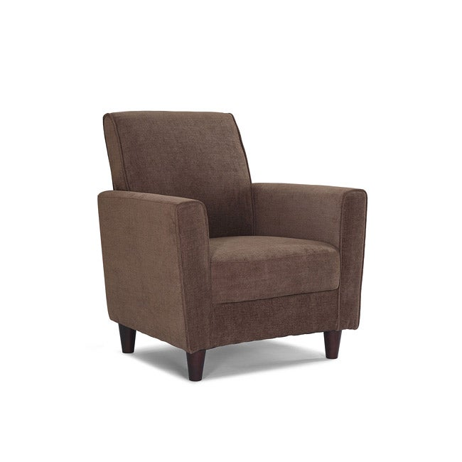 Enzo peat upholstered accent chair overstock shopping for Great living room chairs