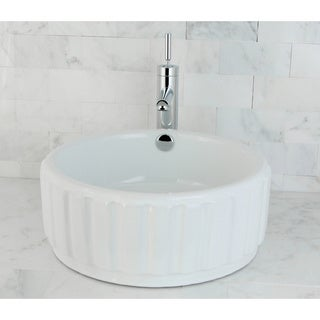 Round Vitreous China White Vessel Sink