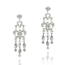Icz Stonez Rhodiumplated Cubic Zirconia Chandelier Earrings