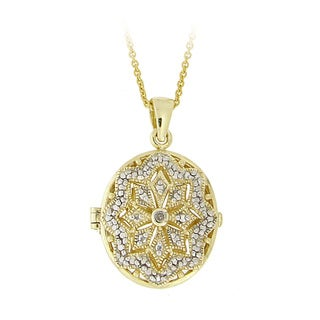 DB Designs 18k Gold over Silver Diamond Accent Oval Star Locket Necklace