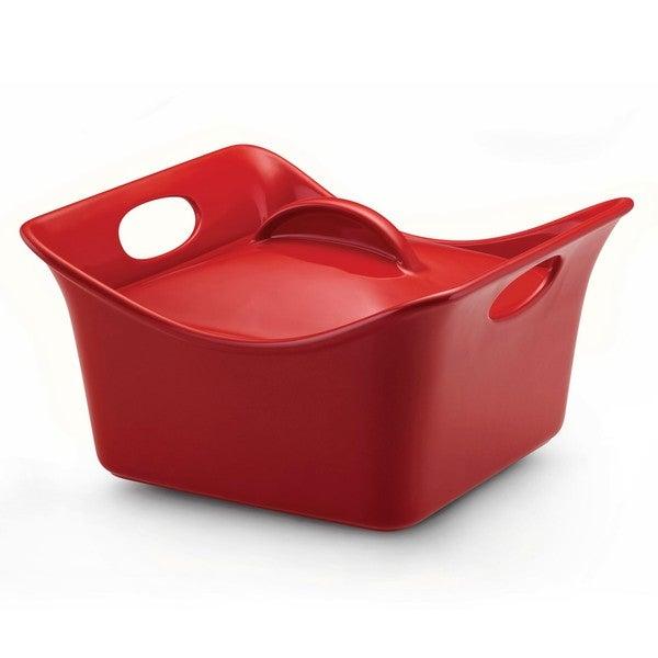 Rachael Ray Red Stoneware 3.5-quart Covered Square Casserole Dish