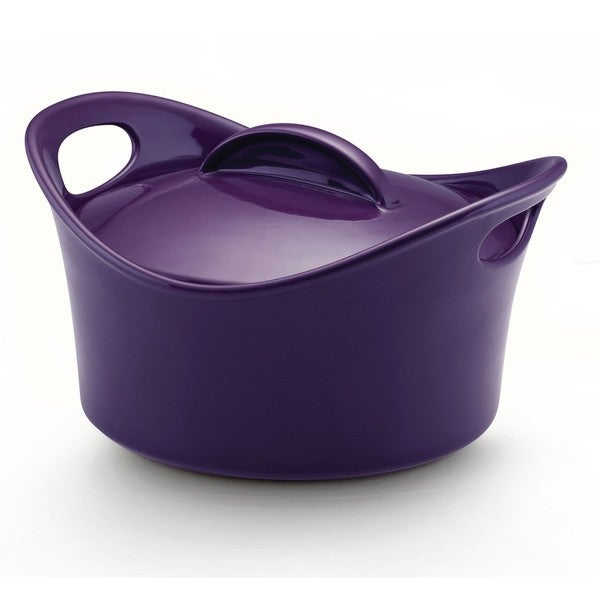 Rachael Ray Purple Stoneware 2.75-quart Covered Round Casserole Dish
