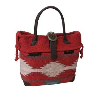 Amerileather Red Wool-blend Roamer Tote Bag