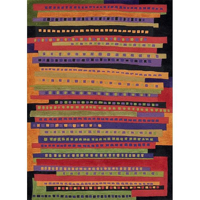 Hand-tufted Caulfield Multi Stripes Rug (7'9 x 9'9)