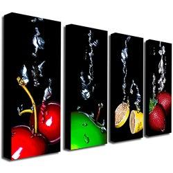 Roderick Stevens 'Splash II' Black 4-piece Gallery-wrapped Canvas Panel Art Set