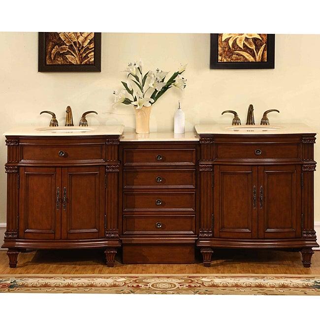 Silkroad Exclusive Marble Top 80-inch Double Sink Vanity Cabinet
