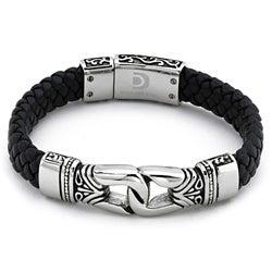 Stainless Steel Men's Black Leather Bracelet