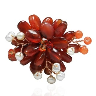 Carnelian and Natural Pearl Lotus Flower Brooch (3-5 mm)(Thailand)