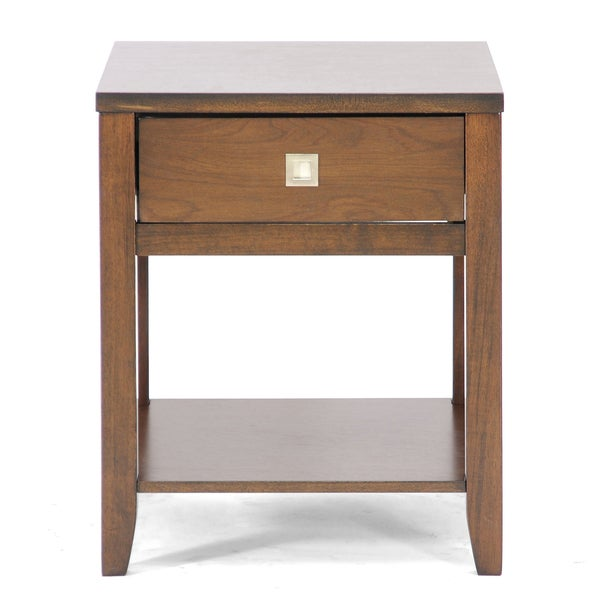 New jersey brown wood modern end table overstock for Coffee tables overstock