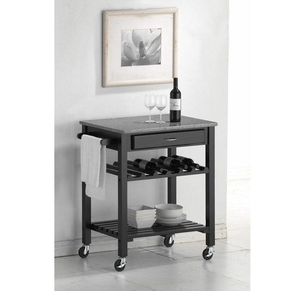 Quebec Black Wheeled Modern Kitchen Cart with Granite Top