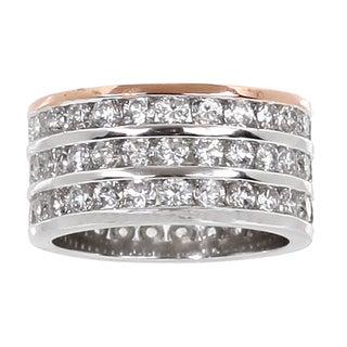 NEXTE Jewelry Two-tone Clear Cubic Zirconia 3-row Eternity Band