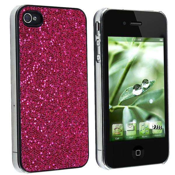 Hot Pink Bling Rear Snap-on Case for Apple iPhone 4