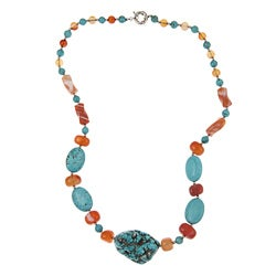 Pearlz Ocean Howlite and Carnelian 26-inch Necklace