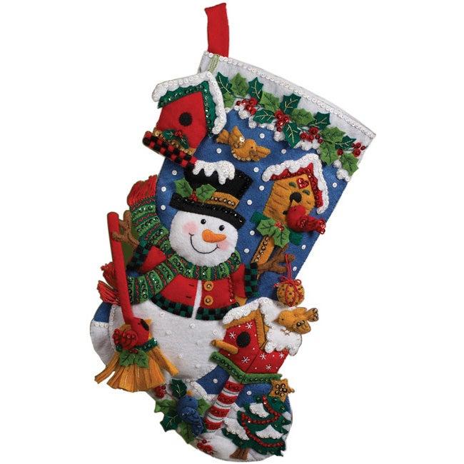 Bucilla 'Snowman with Birds' Stocking Felt Applique Kit