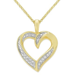 Finesque Gold or Silverplated Diamond Accent Heart Necklace