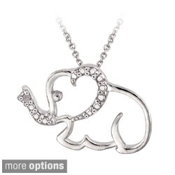 High-polish Sterling Silver Diamond Accent Elephant Necklace