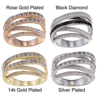 Finesque 14k Gold Overlay or Silverplated 1/4ct TDW Diamond Multi-band Ring (I-J, I2-I3)