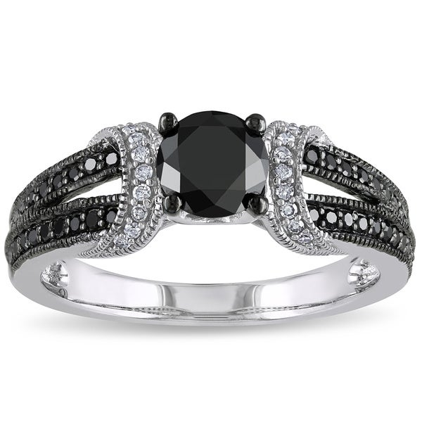 1 CT Black and White Diamond TW Fashion Ring 10k White Gold GH I2;I3 Black Rhodium Plated