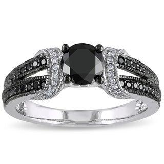 Miadora 10K White Gold 1Ct TDW Black and White Diamond Ring