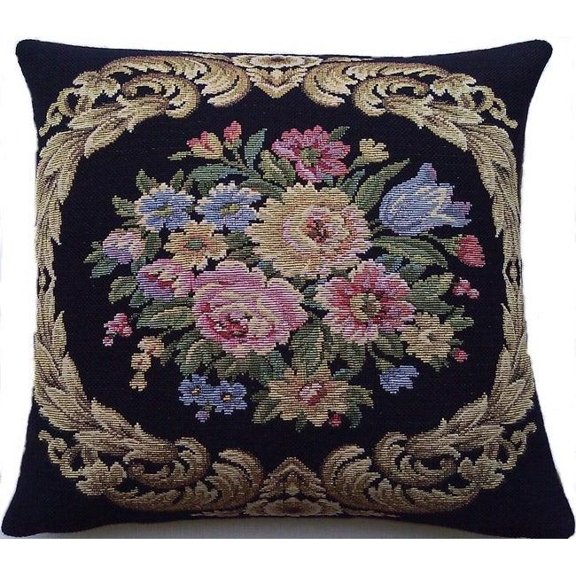 Corona Decor Italian-woven Floral Decorative Pillow