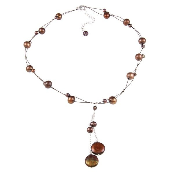 DaVonna Silver Brown 4-14mm FW Pearl Tin Cup Necklace with Gift Box