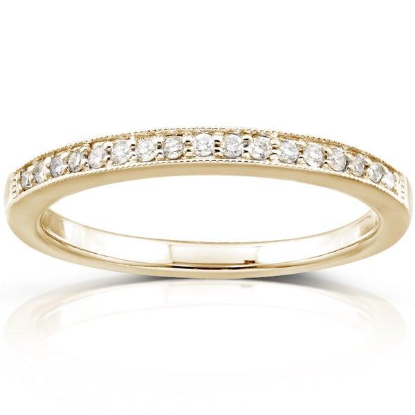 Annello 14k Yellow Gold 1/10ct TDW Diamond Wedding Band (H-I, I1-I2)