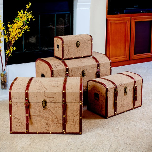 Map-Themed Storage Cases (Set of 4)