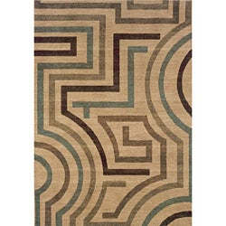 Messina Beige/ Tan Contemporary Area Rug (7'8 x 10'10)