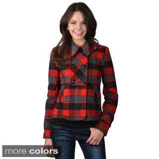 Ci Sono by Journee Juniors Checkered Long-sleeve Coat