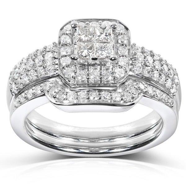 Annello 14k White Gold 5/8ct TDW Diamond Bridal Halo Ring Set (H-I, I1-I2)