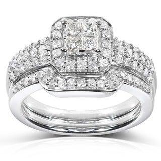 Annello 14k White Gold 5/8ct TDW Diamond Bridal Halo Ring Set (H-I, I1-I2) with Bonus Item