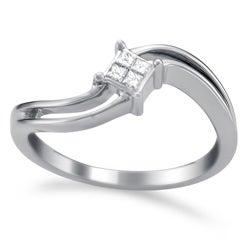 14k White Gold 1/10ct TDW Curved Princess Diamond Ring (H-I, I2)