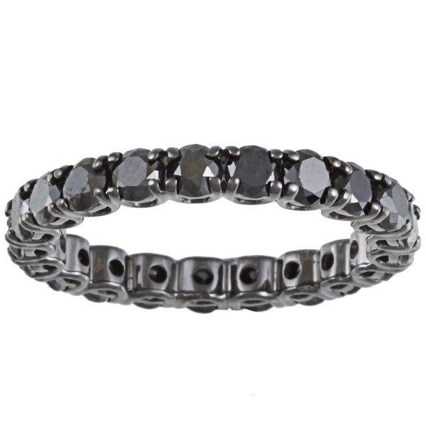 14k Gold and Black Rhodium 2 3/4ct TDW Black Diamond Eternity Band
