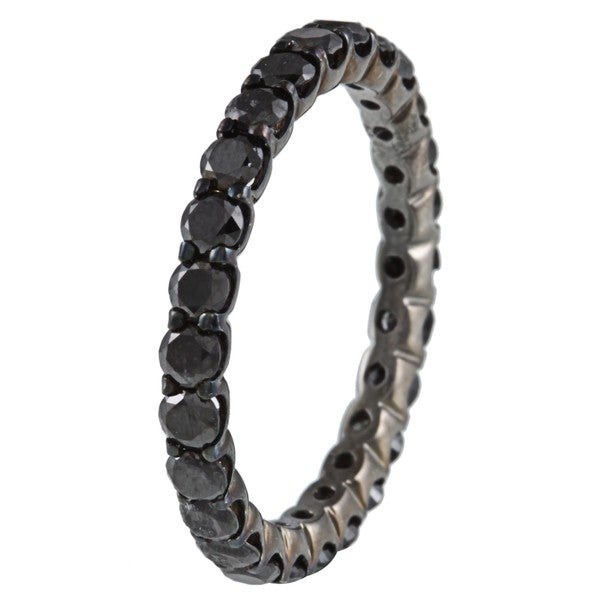14k Gold and Black Rhodium 1 1/2ct TDW Black Diamond Eternity Ring