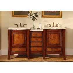 Silkroad Exclusive Marble Top 67-inch Double Sink Vanity Cabinet