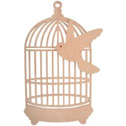 Beyond The Page MDF Traditional Birdcage With Bird